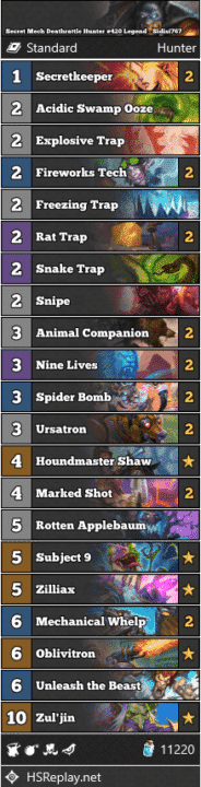 Secret Mech Deathrattle Hunter #420 Legend - Sidisi767