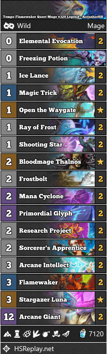 Tempo Flamewaker Quest Mage #329 Legend - AsranhorHS