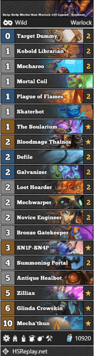 Sn1p-Sn4p Mecha'thun Warlock #20 Legend - Sealhoon