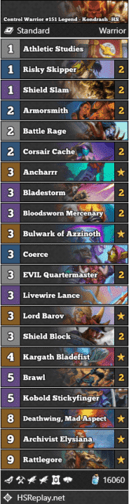 Control Warrior #151 Legend - Kondrash_HS